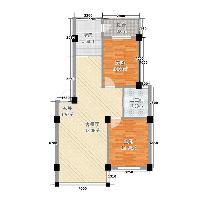 鑫域蓝湾28.86㎡户型2室2厅1卫