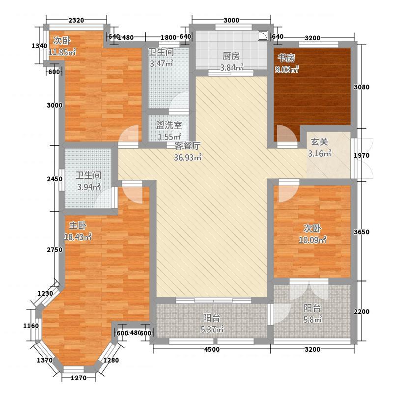 英伦湾442155.41㎡4#A户型4室2厅2卫1厨