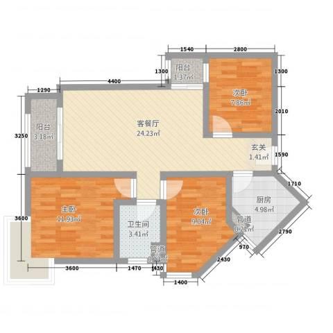 宝安江南城别墅3室1厅1卫1厨66.34㎡户型图