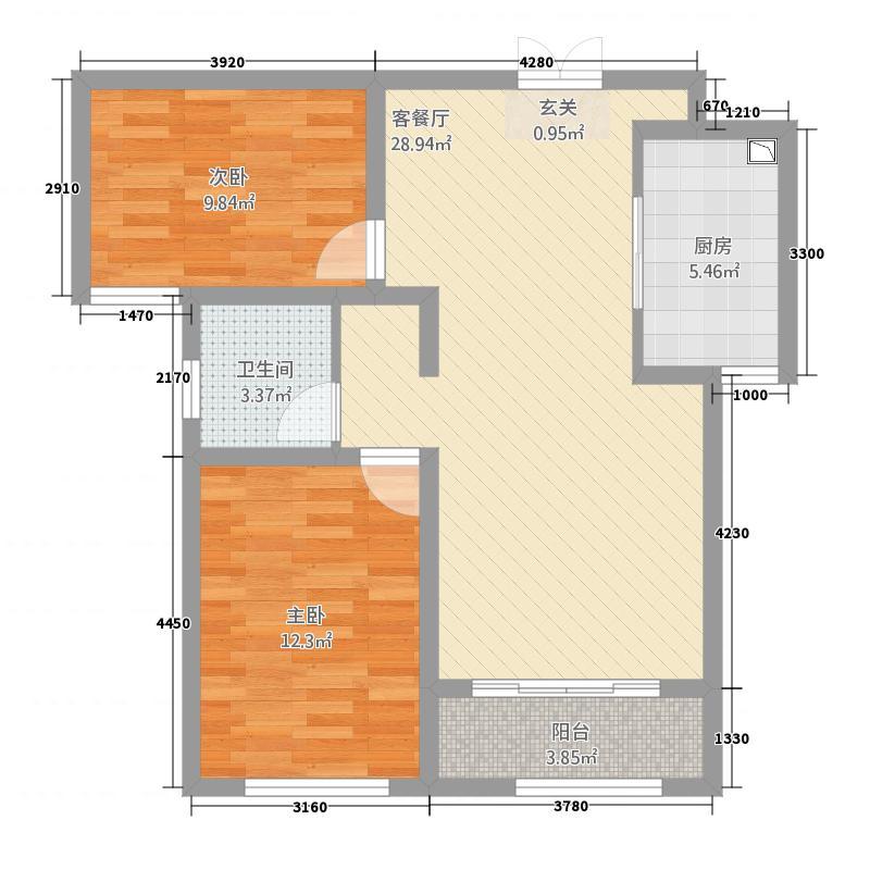 英伦湾1222.20㎡1#2#B户型2室2厅1卫1厨