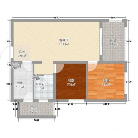 林语江畔2室1厅1卫1厨88.00㎡户型图