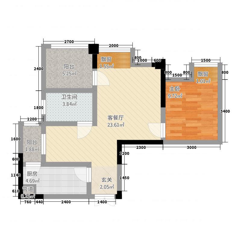 格兰美景166.20㎡效果图户型1室2厅1卫1厨