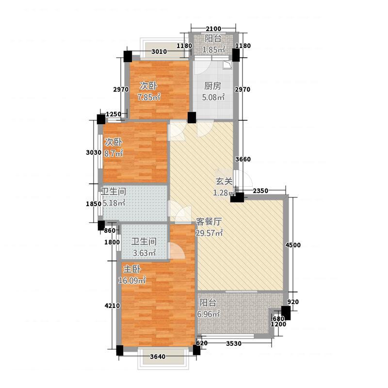 祥生君悦1317.26㎡B-1户型3室2厅2卫1厨