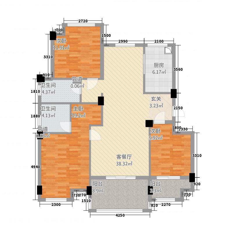 祥生君悦1312.18㎡C1户型3室2厅2卫1厨