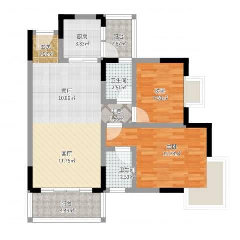 凤凰山居2室1厅2卫1厨92.00㎡户型图