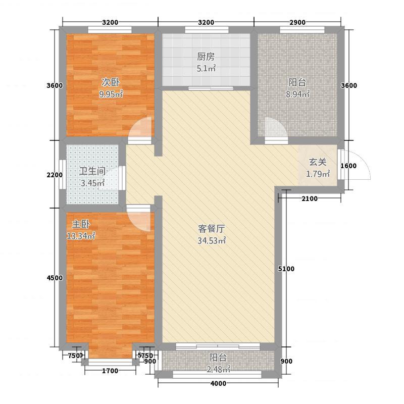 恒昌幸福城3121.82㎡M户型3室2厅1卫1厨
