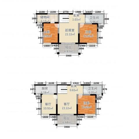 长江国际花园3室2厅2卫1厨3173.00㎡户型图