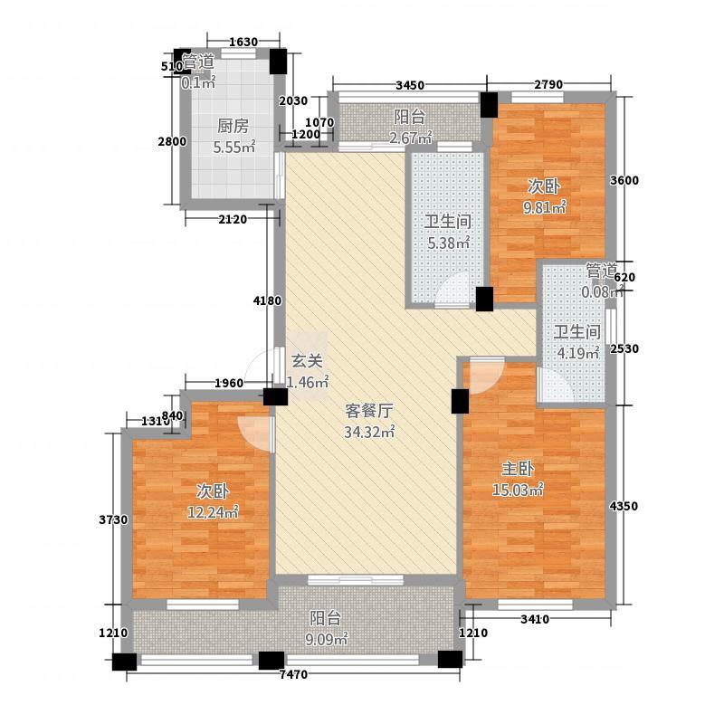 名溪花苑1313.20㎡A1户型3室2厅2卫1厨