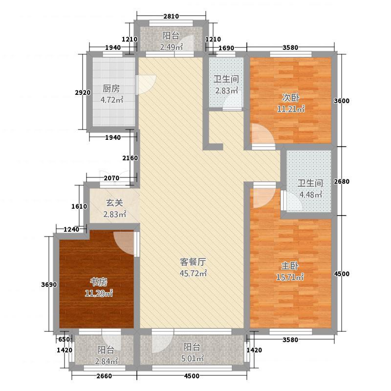 四季花园5136136.00㎡5#楼三居户型3室2厅2卫1厨