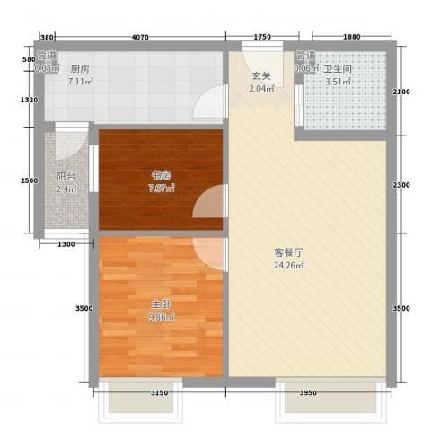 林语江畔2室1厅1卫1厨77.00㎡户型图