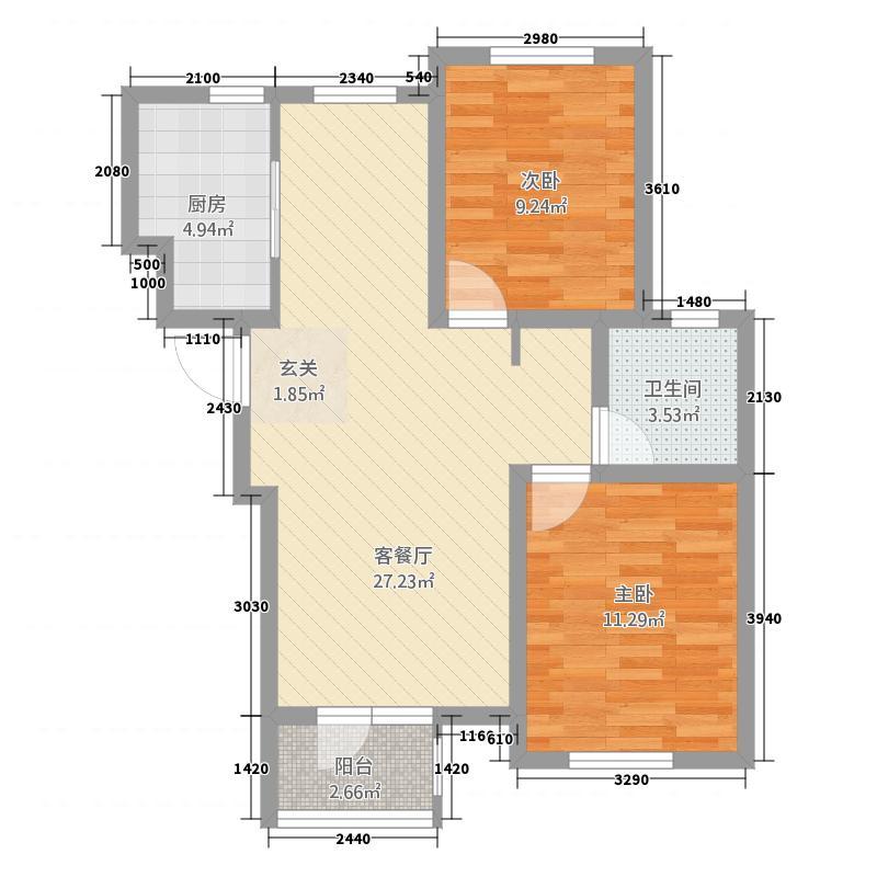 四季花园111288.20㎡11#12#V两居户型2室2厅1卫1厨