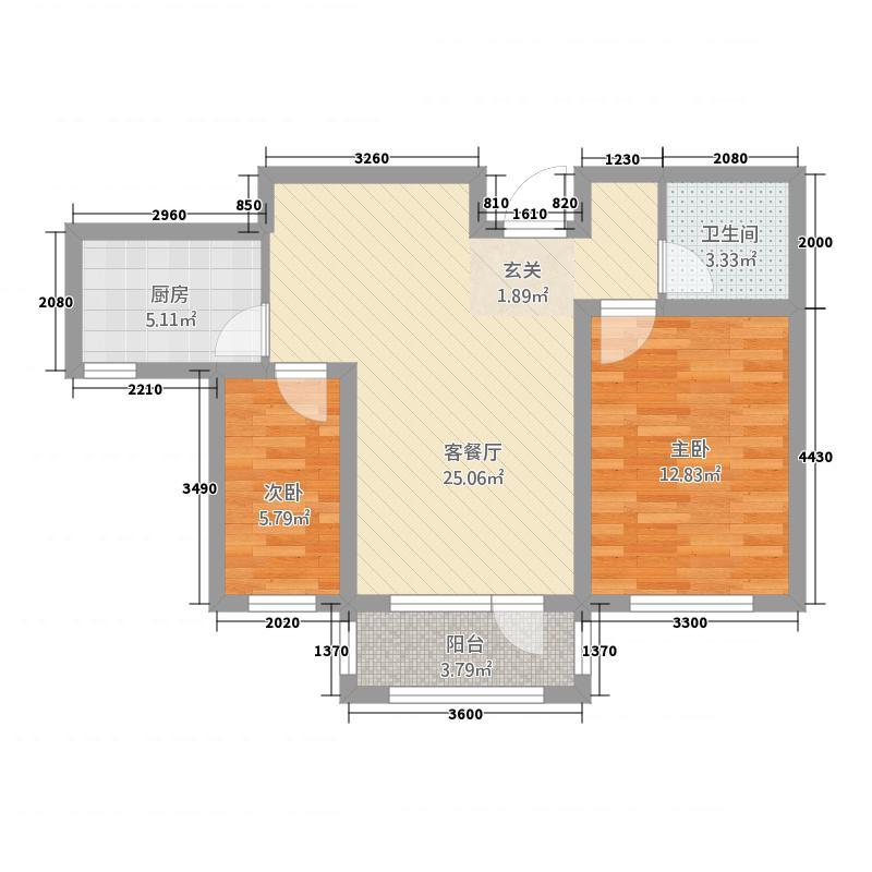 四季花园11188.20㎡10#11#U户型2室2厅1卫1厨
