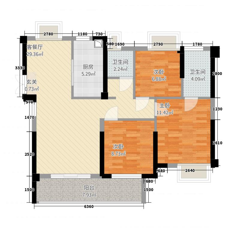 荣域・外滩151.20㎡1、5号楼A3户型3室2厅2卫1厨