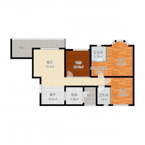 龙湖花千树3室1厅2卫1厨139.00㎡户型图