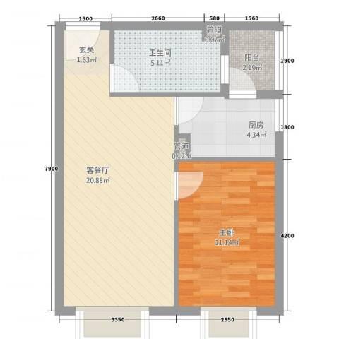 林语江畔1室1厅1卫1厨62.00㎡户型图