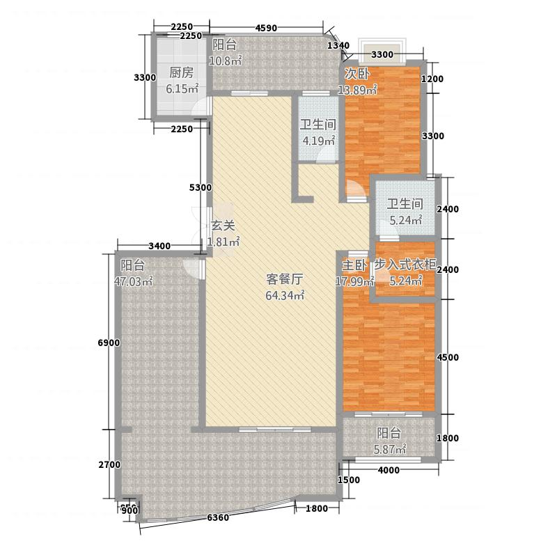 名仕豪庭2211.20㎡M户型2室2厅2卫1厨