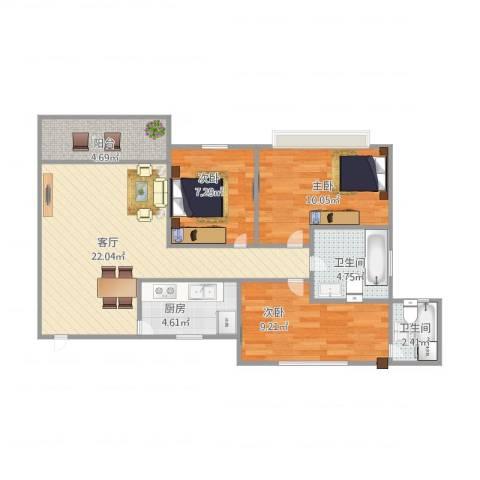 伍仙花园3室1厅2卫1厨89.00㎡户型图