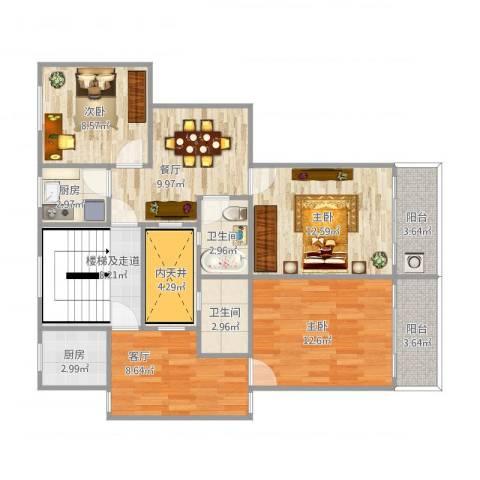 开鲁四村3室2厅2卫2厨84.03㎡户型图