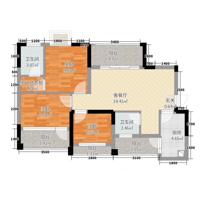 成功悦都12.20㎡1、2号楼标准层B户型3室2厅2卫1厨