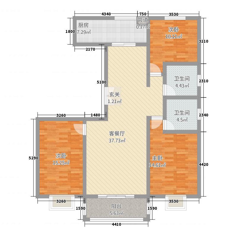 酒泉东方明都2143.42㎡L2户型3室2厅2卫