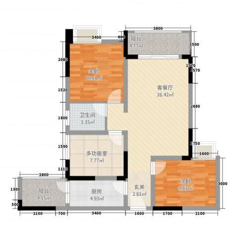 金九・南滨花园2室1厅1卫1厨72.03㎡户型图