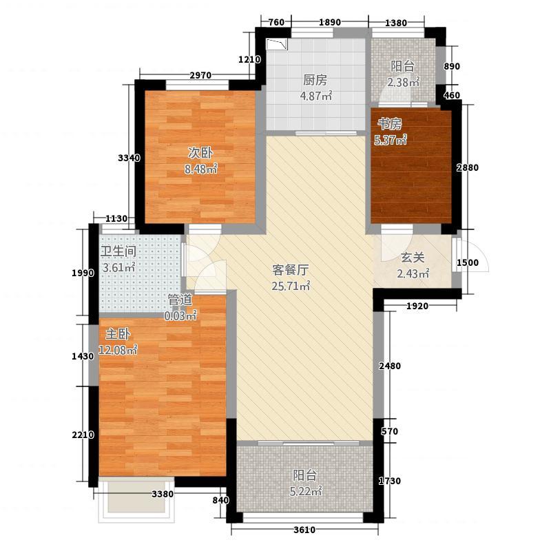 郑西鑫苑名家16.84㎡一期C1-1户型3室2厅1卫1厨