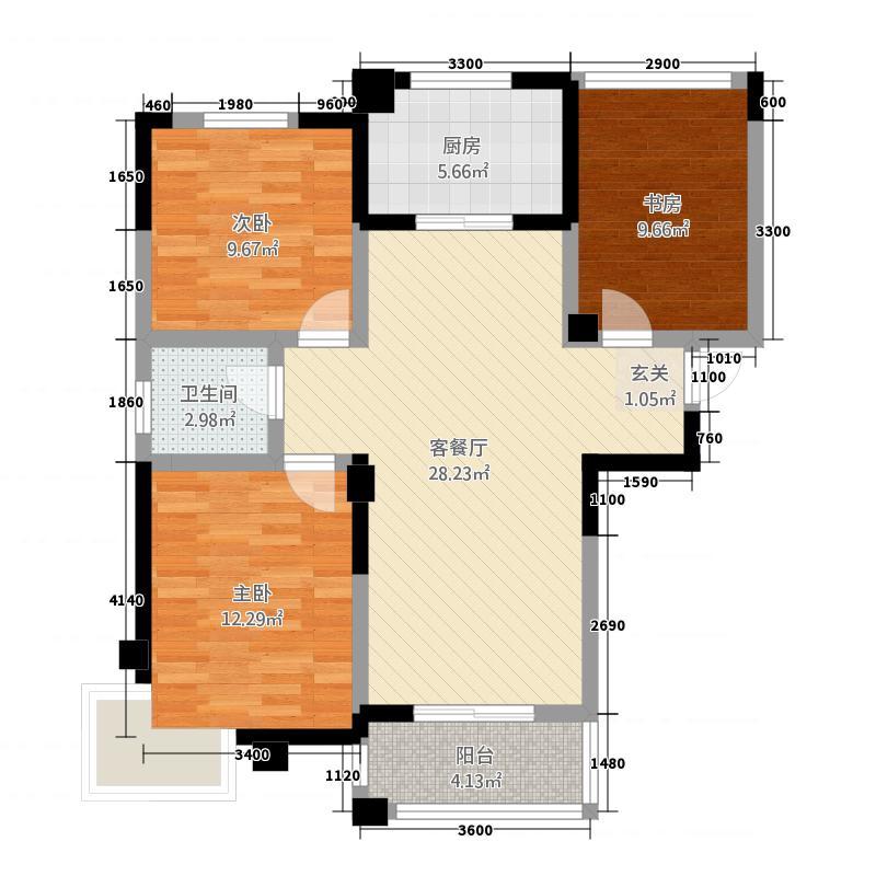 晨阳滟澜山27.20㎡C户型2室2厅1卫1厨