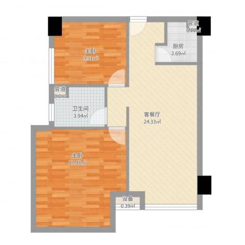 雅戈尔东湖花园2室1厅1卫1厨82.00㎡户型图