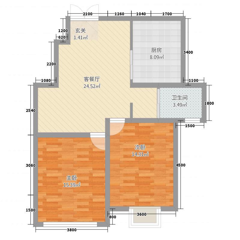 苏源花园二期186.32㎡1号楼D户型2室1厅1卫1厨