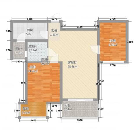 郑西鑫苑名家2室1厅1卫1厨183.00㎡户型图