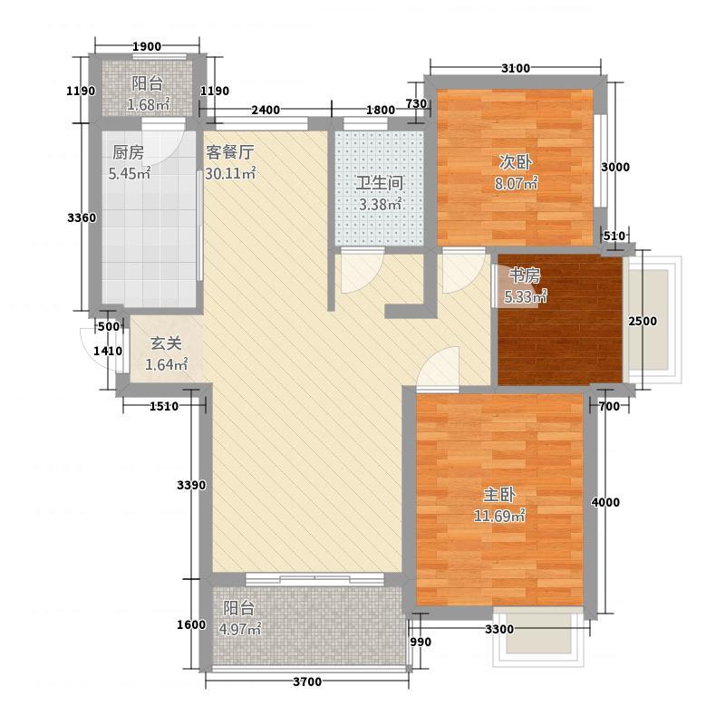 郑西鑫苑名家113.20㎡一期C1-3户型3室2厅1卫1厨