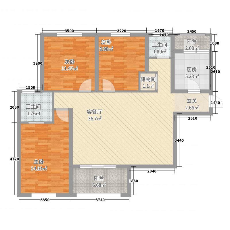 富兴・湖畔欣城1124.56㎡J1户型3室2厅2卫1厨