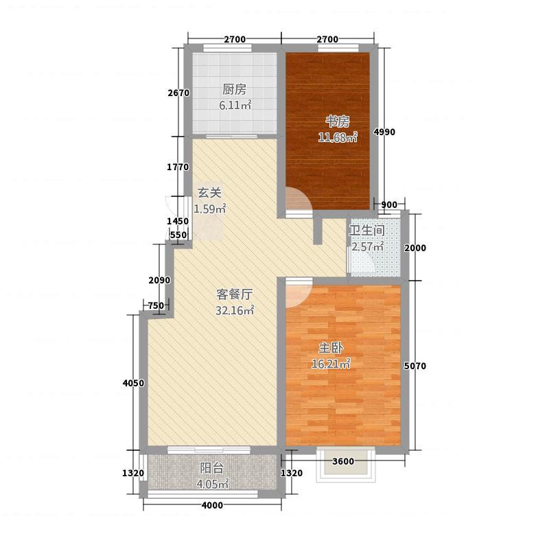 苏源花园二期66.72㎡6号楼E户型2室2厅1卫1厨