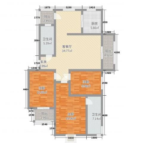 广联翠屿3室1厅2卫1厨103.77㎡户型图