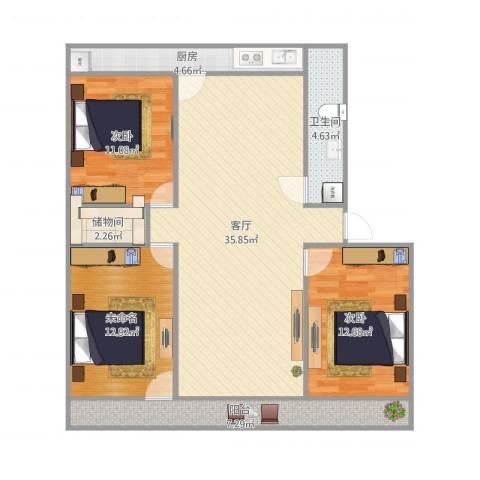 建北小区2室1厅1卫1厨124.00㎡户型图