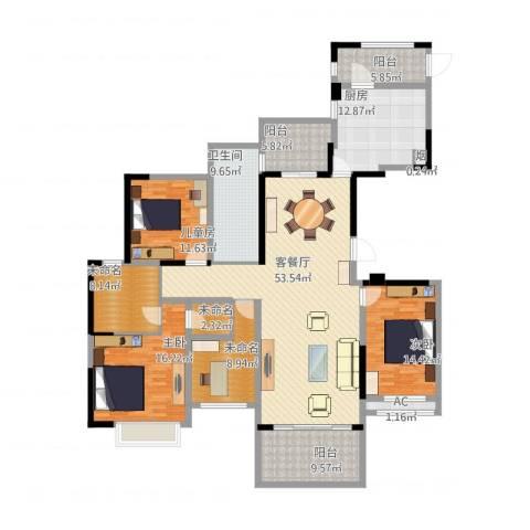 招商雍华府3室1厅1卫1厨223.00㎡户型图