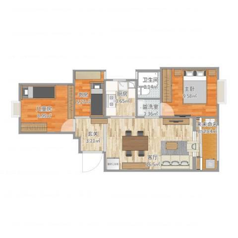 瑶溪凤凰城3室2厅1卫1厨75.00㎡户型图