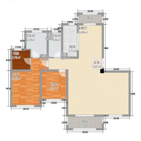 中星湖滨城凡尔赛九郡3室1厅2卫1厨158.00㎡户型图