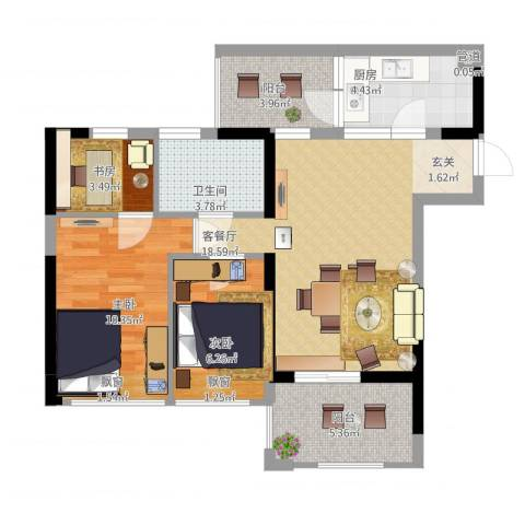 星河传说迪纳公寓3室1厅1卫1厨82.00㎡户型图