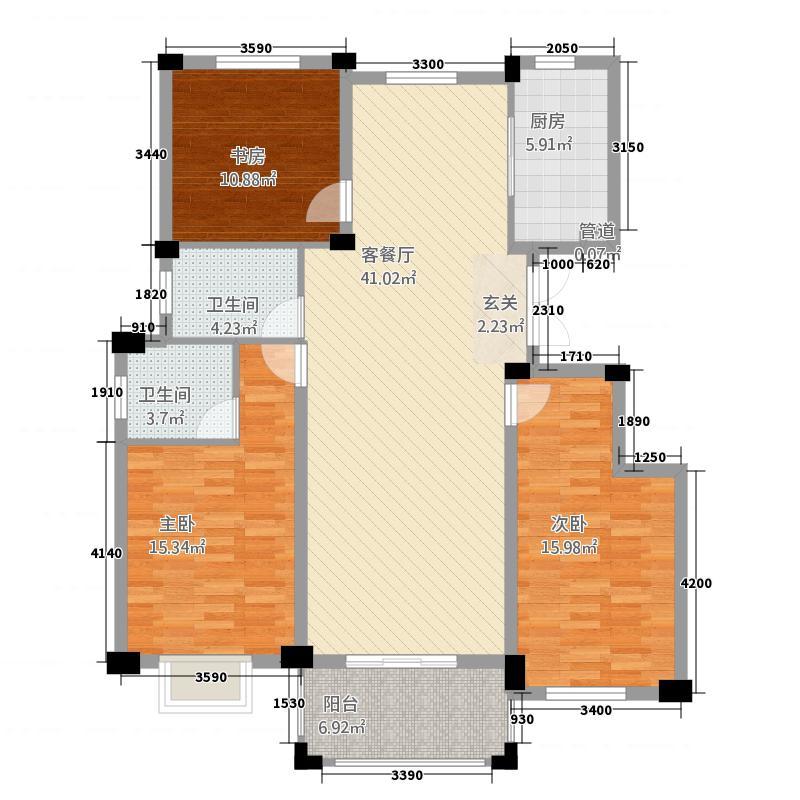 万达风华苑12.20㎡户型3室2厅2卫1厨