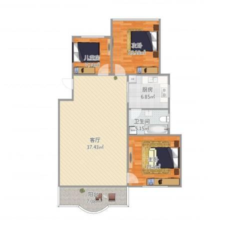松柏华庭3室1厅1卫1厨120.00㎡户型图