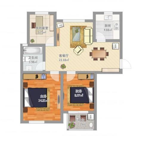 苏安新村90二2室1厅1卫1厨94.00㎡户型图