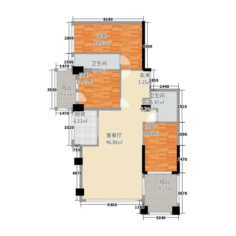 世纪海岸花园C1户型3室2厅2卫1厨