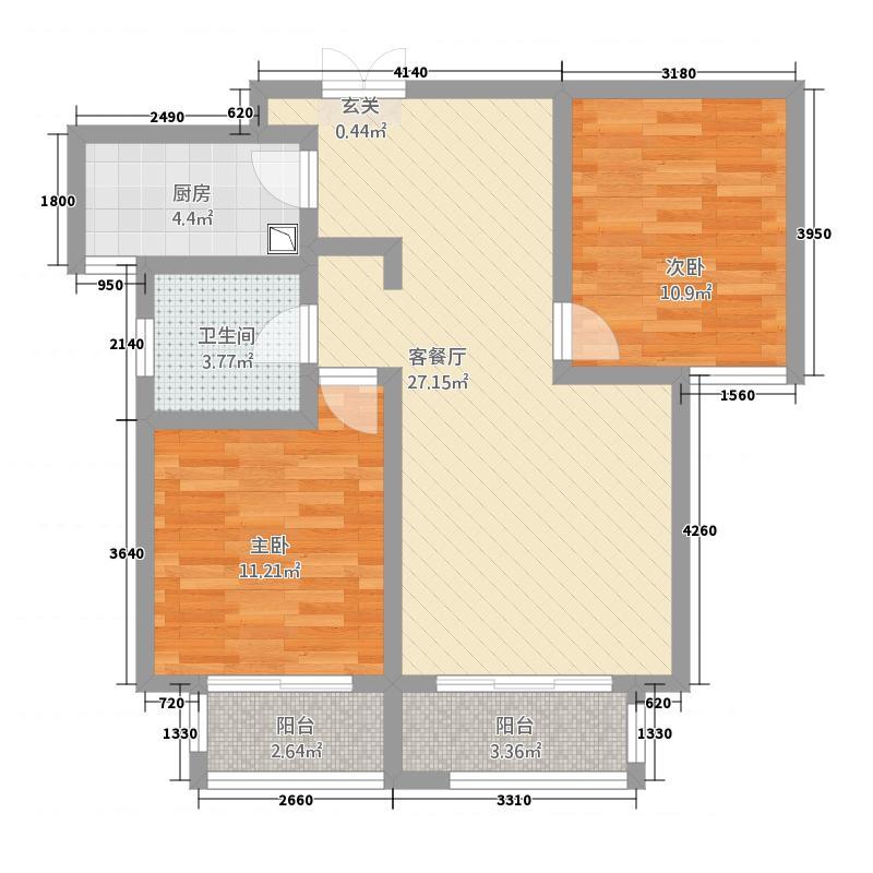 英伦湾6223.27㎡6#B户型2室2厅1卫1厨