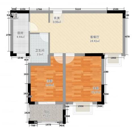 众发世纪城2室1厅1卫1厨142484.00㎡户型图