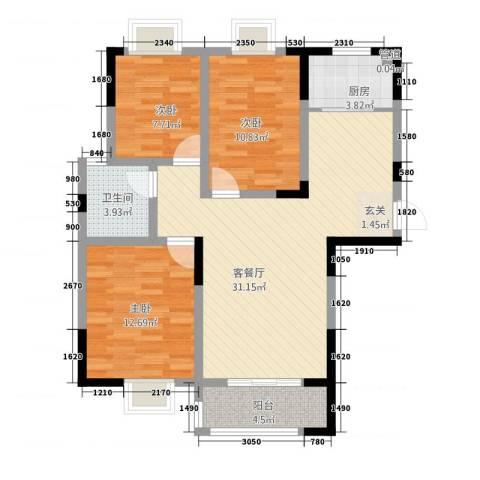 众发世纪城3室1厅1卫1厨163318.00㎡户型图
