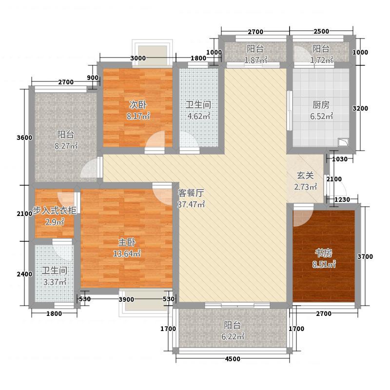 桐达山韵131.15㎡花园洋房-三至五层-户型3室2厅2卫1厨