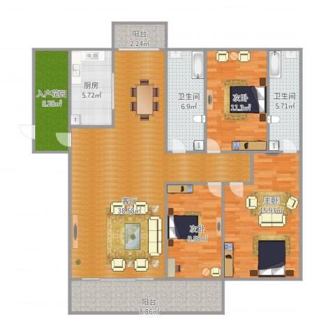 中海万锦豪园000013室1厅2卫1厨150.00㎡户型图