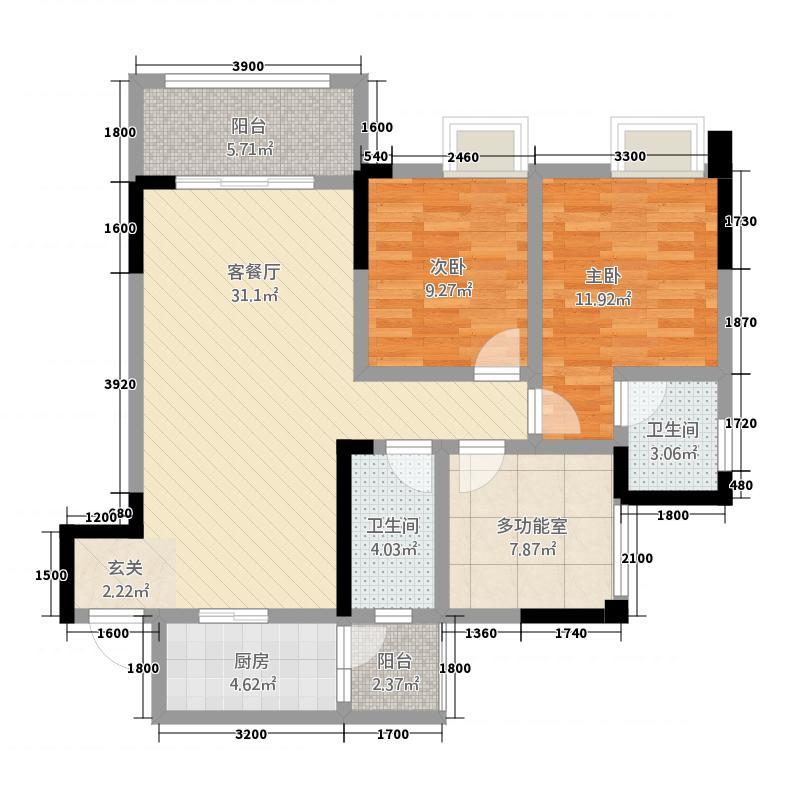 金九・南滨花园1.50㎡6号楼1号房户型2室2厅2卫1厨