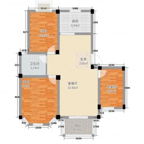 盛世莲花3室1厅1卫1厨1315.00㎡户型图